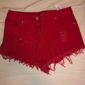 red jean shorts